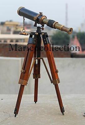 Vintage Brass Telescope With Wooden Tripod Handmade Nautical Spyglass/Scope Gift