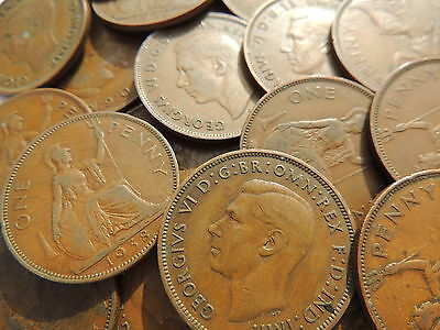 Bulk Lot Of 40 Old British George Vi One Penny Coins (1937 -1949)