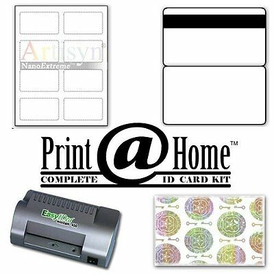 ID Card Kit 25 with Laminator, Teslin, Butterfly Pouches, and Holograms