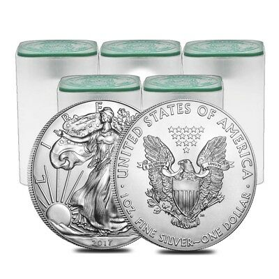 Lot of 100 - 2017 1 oz Silver American Eagle $1 Coin BU (5 Roll,Tube of 20)