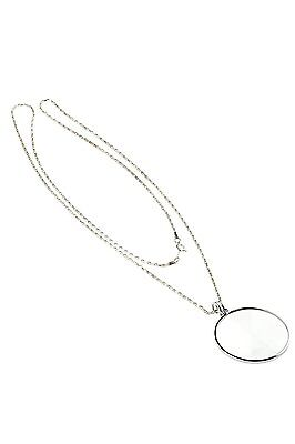 "SE MG2016S 4x Pendant Magnifier with 36"" Silver Chain Necklace 1-3/4"" Glass Lens"