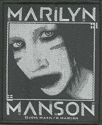 MARILYN MANSON black & white 2016 - WOVEN SEW ON PATCH - no longer made