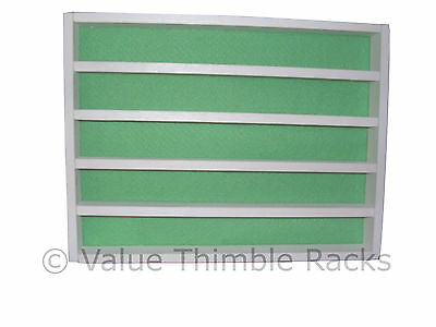 50 thimble display rack in white and mint felt back