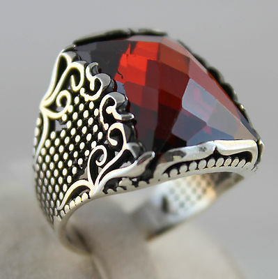 Turkish Handmade Ottoman Style Solid 925 Sterling Silver Ruby Men Fine Ring