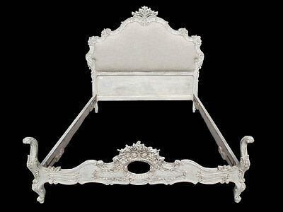 Outstanding French Louis XV Carved Upholstered White Full Bed - 10773