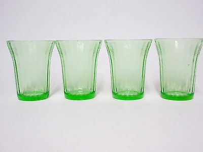 4 Matching Green Cherry Blossom Flat Juice Tumblers / Jeannette Glass Co