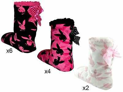 Womens/Ladies Official Playboy Fleece Lined Bootie  Slippers 4-7 fast post