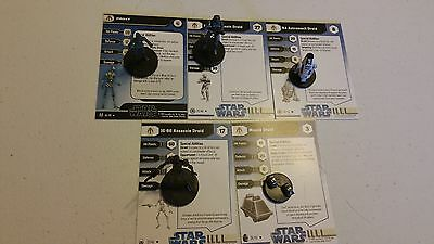 Star Wars Miniatures Droid Lot. Proxy, HK-50 Assassin, Mouse, R4,  IG-86