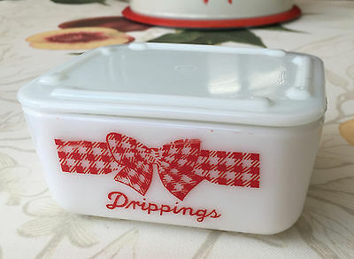 McKee Red Gingham Checkered Bow Small Drippings Container Dish Jar  ~ Cheery ~