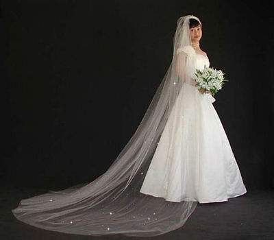 Cut Edge Scatter Crystal Cathedral / Chapel Wedding Bridal Veil White or Ivory