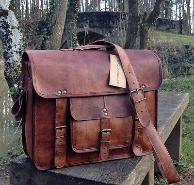 "15"" Handcrafted Briefcase Designer Retro Chic Rustic Leather Laptop Satchel Bag"