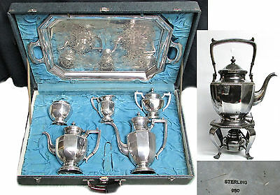 Japanese 950 Silver 8 Piece Tea & Coffee Set With Tray & Kettle In Fitted Case