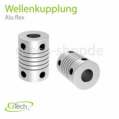 Wellenkupplung 3D-Drucker Modellbau CNC Aluminium flexibel shaft couppler Welle