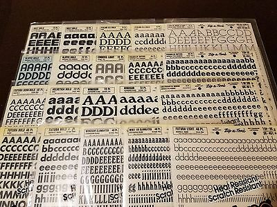 Vintage Zip-A-Tone Various Fonts & Pts.Letters & Numbers 40 sheet lot (H1065)