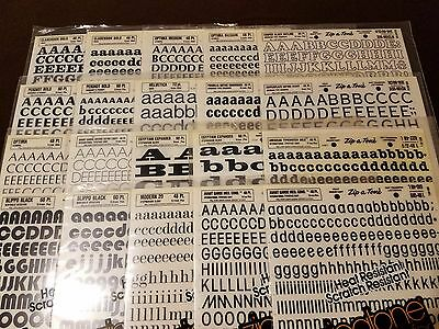 Vintage Zip-A-Tone Various Fonts & Pts.Letters & Numbers 40 sheet lot (H1063)