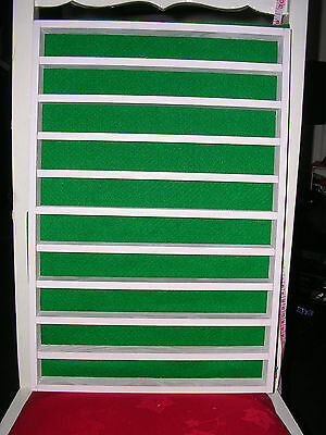 100 thimble display rack in white wood and green felt back