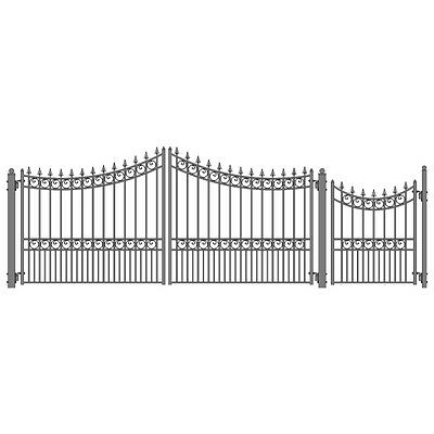 ALEKO Moscow Style Iron Wrought Dual Driveway Combo Gate 16' And Pedestrian Gate