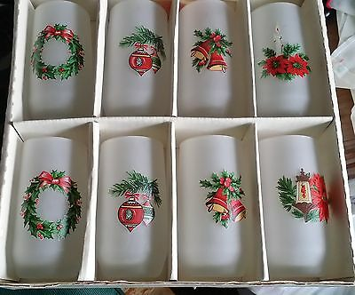 VTG 8pc Set Viking Frosted Christmas Glasses Tumblers in Original Box Barware