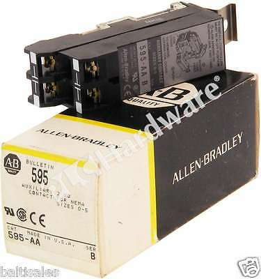New Allen Bradley 595-AA /B Auxiliary Contacts for Contactors Sz 0-5, 2 N.O. Qty