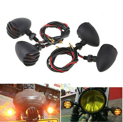 4x Motorcycle Turn Signal Indicator Harley Davidson Cafe Racer Cruiser Chopper