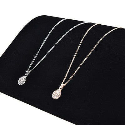 Women Fashion Gold Silver Plated Crystal Pendant Long Chain Statement Necklace P
