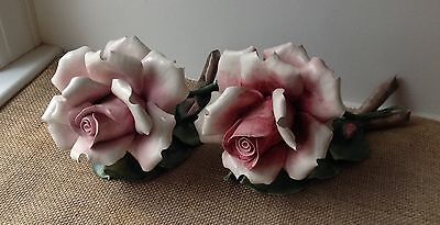 Vintage Capodimonte Rose Flower Figurine Porcelain Italy Set Of 2