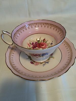 Hammersley Vintage Bone China Footed Cup & Saucer Pink Floral Gold Scalloped