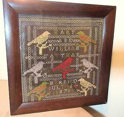 antique 19th century 1878 hand embroidered marriage needlepoint sampler art