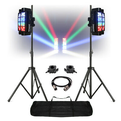 Double Helix CREE LED DMX DJ Lighting Disco Club Light Set (Pair with Stands)