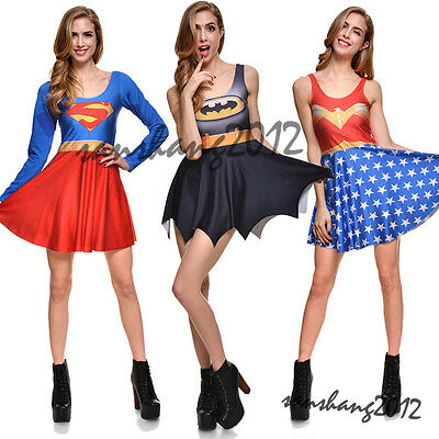 Women Ladies Wonderwoman Fancy Dress Outfit Costume Superman S-4Xl Halloween New