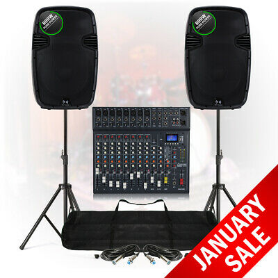"15"" PA Speaker System 12 Ch Bluetooth DJ Mixer 1600W Stage Sound with Stands"