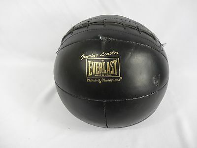 Everlast Black Leather 8LB Medicine Weighted Ball With Large Side Stitching VTG