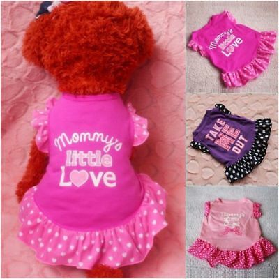 Small Dog Cat Pet Princess Clothes Puppy Bow Vest T Shirt Coat Dress Apparel NEW