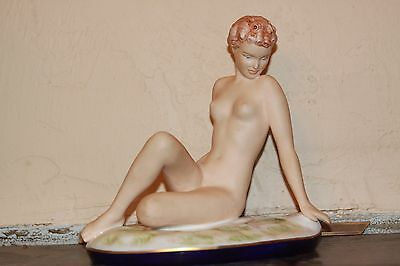 Vintage Royal Dux Statue Figurine Nude Woman Bohemia Hand Painted Signed