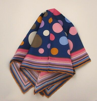 "Audrey Talbott /""Estate/"" 21/"" Multi-Color Squares Midnigh Blue Italian Silk Scarf"