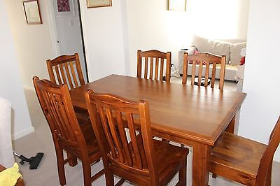 Dining Setting 6 Wooden Chairs And Table Teak Very Solid