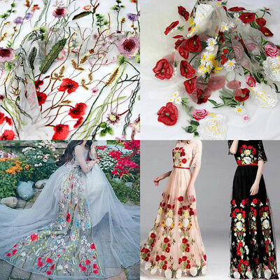 39*59''  Floral Flower Embroidery Colorful Mesh Wedding Bridal Veil Lace Fabric