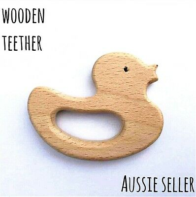 Natural organic wooden teether baby teething toy large DIY ring duck dummy clip