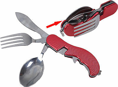 RED Foldable Tableware 4-in-1 Stainless Steel Spoon Fork Knife and Bottle Opener