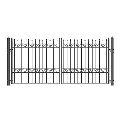 ALEKO Oslo Style Ornamental Iron Wrought Dual Driveway Gate 12' High Quality