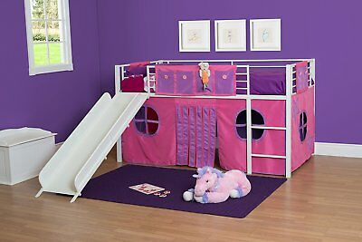 NEW Kids Twin Junior Loft Bed Curtain Pink Purple Fort Tent Play Area Girls NWT