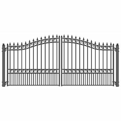 ALEKO London Style Ornamental Iron Wrought Dual Driveway Gate 12' High Quality