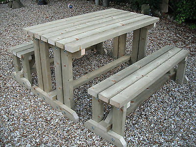 Pressure Treated Wooden Walk In Picnic Table Bench Pub Garden Outdoor Last One