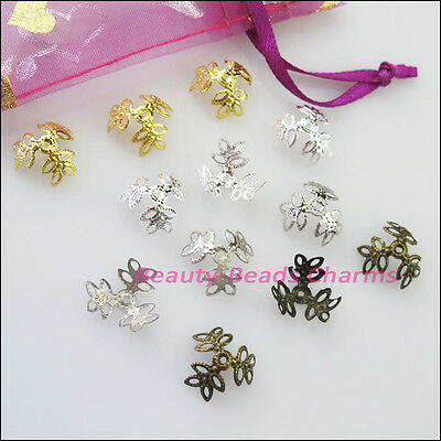 60 New Gold Silver Bronze Plated Leaf Flower End Bead Caps Connectors 15mm
