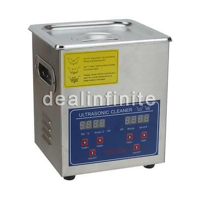 New Stainless Steel 2L Liter Industry Heated Ultrasonic Cleaner Heater Timer wr