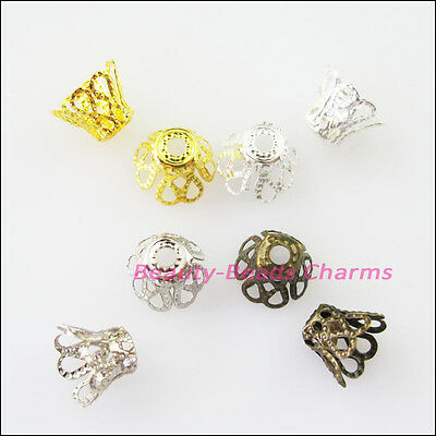 80 New Gold Silver Bronze Plated Wine Class Flower End Bead Caps Connectors 8mm