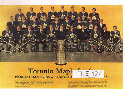 1961-62 johnny bower TORONTO MAPLE LEAFS STANLEY CUP CHAMPIONS TEAM PICTURE