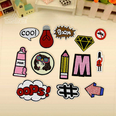 13Pcs Boom Cool M Cute Embroidery Sew On Iron on Patch Badge Bag Fabric Applique