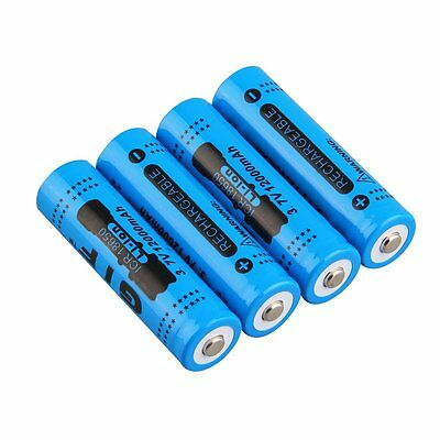 4x 18650 3.7V 12000mAh Rechargeable Li-ion Battery for LED Torch Flashlight FQ