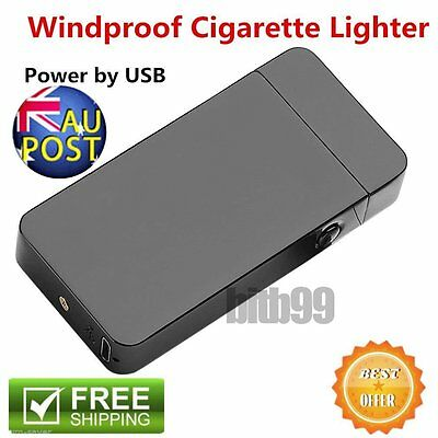 Windproof Electric Lighter USB Rechargeble Dual Arc Metal Flameless Torch Hot AU